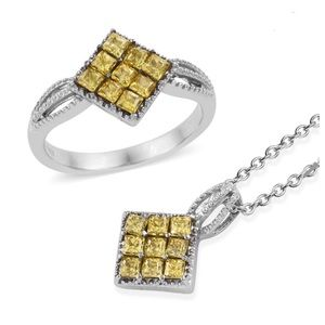 Yellow CZ Stainless Steel Ring & Pendant W/Chain